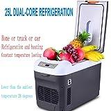 LonVe 25L/12L Dual Nuclear Refrigeration, Auto Kühlschrank Auto Dual-Use Frozen Fresh Mini Kühlschrank 24V für LKW-Kühlung und Heizung, 28 * 52 * 26cm, 25l Dual Refrigeration Car Home Three