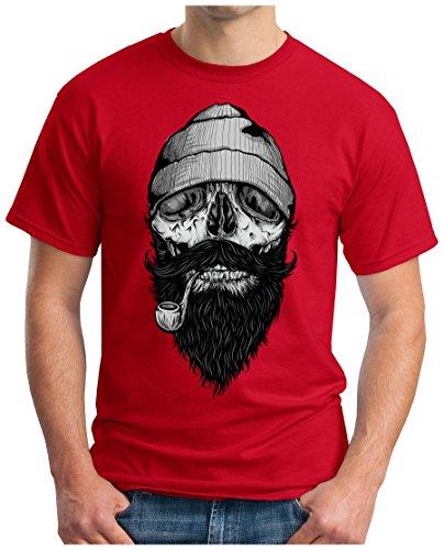 OM3 - FISHERMAN-SKULL - T-Shirt BONES HIPSTER FACE SAILOR ANCHOR ANKER SHIP