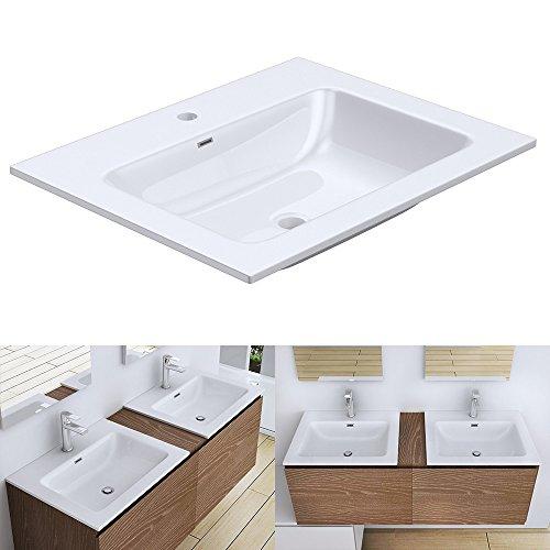 Einbauwaschbecken Colossum02-600, BTH: 60x48x13,5cm, Design Waschbecken aus Gussmarmor in Weiß