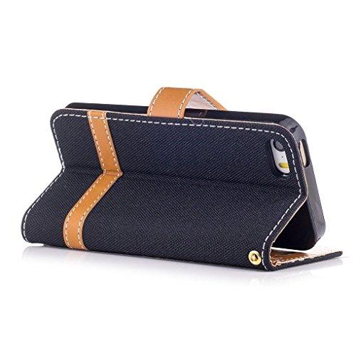 König-Shop Handy Hülle Schutz Case Jeans Optik Bookstyle Tasche Etuis, Für Handy:Apple iPhone 5 / 5S / SE, Farbe wählen:Schwarz Schwarz