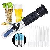 Refraktometer, risepro® hausgebrautem Bier Alkohol Hydrometer Dual-Skala Brix 0~ 32% Würze SG 1,000~ 1,120spezifische erdanziehungskraft Zucker Wein Bier Juice Fruit Gras (Aluminium)