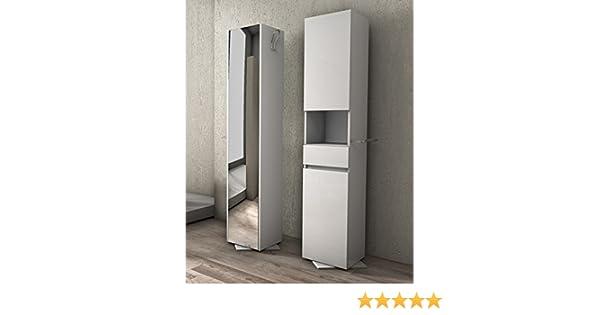 Colonna girevole da 33x190hx35 bianca con specchio mobile bagno