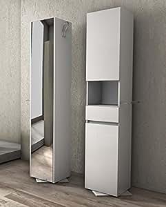 Colonna girevole da 33x190hx35 bianca con specchio mobile for Arredo casa amazon