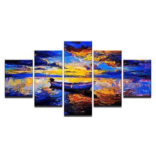 HXZFF Quadro su Tela Tramonto della Pittura a Olio di Vista del Lago 150 x 80 cm Stampa su Tela in TNT XXL Immagini Moderni Murale Fotografia Grafica Decorazione da Parete 5 Pezzi Nessuna Co