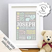 Personalised Cute Baby Elephant Baby Feet Customisable Baby Print, New Baby Gift, Birth Details, Christening, Boy, Girl, Newborn Stats, Nursery Art, Picture, Childs Room - Print or Framed Print