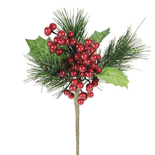 alice's decorations decorazione natalizia bouquet con pino e agrifoglio l. 20 cm confezione 6 pz