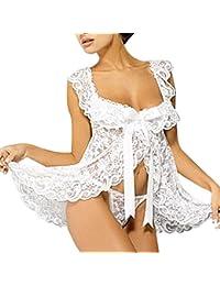 Sannysis lencería mujer, 1pc ropa de dormir mujer monos de encaje y 1pc ropa interior