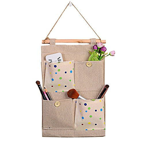 BOZEVON Hängende Aufbewahrungsbeutel für Hausorganisation Wandtasche mit Musterdekoration 4 Fächer Leinenstoff