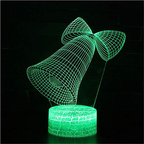 Weißer Sockel Bell-Thema 3D-Lampe LED-Nachtlicht 7 Farbwechsel-Touch-Stimmung-Lampe Weihnachtsgeschenk -