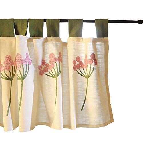 Tine Home Vorhänge Raffrollo Vorhang Tüll pink Pusteblume Bestickt Gaze Kaffee Vorhang Küche kurz Vorhang Halbschatten Vorhang klein für Home Dekoration Rod Pocket, 1pc(150x45 cm) -