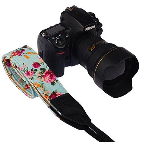 LEDMOMO DSLR / SLR Kamera Hals Schultergurt Gurt, Baumwolle Leinwand DSLR / SLR Kamera Hals Schultergurt Gurt für Nikon Sony oder andere Kameras (Green Vintage floral)