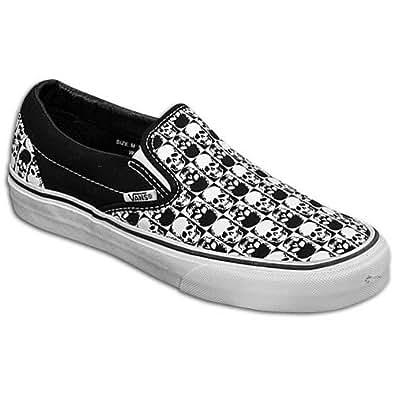 vans classic slip on blacktrue white skull checkerboard