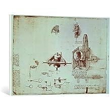 """Cuadro en lienzo: Leonardo da Vinci """"Facsimile of Codex Atlanticus f.393v A Fin Spindle (original copy in the Biblioteca Ambosiana, Milan, 1503/4-07)"""" - Impresión artística de alta calidad, lienzo en bastidor, 95x65 cm"""