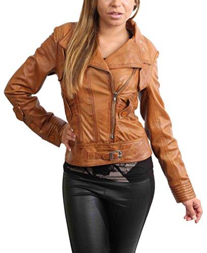 (Damen Weiches Echtes Leder Biker-Jacke Reißverschluss Ausgestattet Designer Mantel Hellbraun - Sheila (S - EU 36))