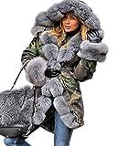Aofur Elegant Damen Camouflage Winter Parka Kapuzenjacke Warme Faux Pelz Gefüttert Wintermantel (42/44, Grau)