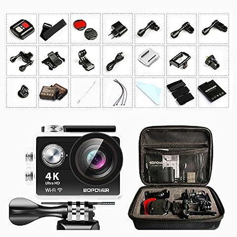 4K 60fps Action Kamera, Bopower WIFI Sports Cam mit 2 1050mAh Akkus, 2.4G RF Fernbedienung und Zubehör Kit, 170 Weitwinkel / 12MP Ultra Full HD / 2,0 Zoll / 30 Meter wasserdicht