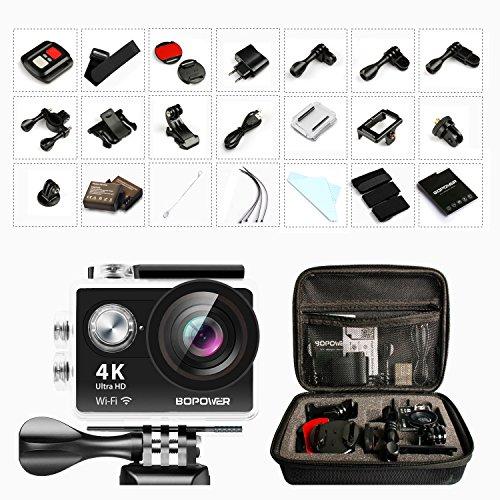 4K Action Cam, GooBang Doo Caméra d'Action Sport 4K Ultra HD Wifi Étanche Mini Caméscope Sportive avec Kit d'Accessoires Télécommande 2 Batteries Rechargeables