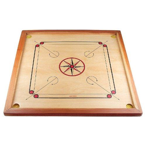 Carrom Board Star Turnier 83 cm mit komplettem Zubehör - 1 x Carrompulver gratis