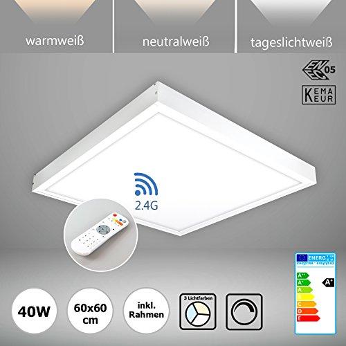 LED Deckenleuchte dimmbar mit Fernbedienung 60x60 cm 40W LED Panel Deckenlampe Lichtfarbe umschaltbar warmweiß neutralweiß tageslichtweiß wireless ENEC PLs2.0 (Wireless Panel)