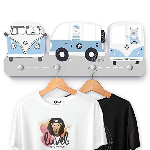 luvel - (G13) Kindergarderobe mit 4 Haken, viele Motive, Maße ca.: 40 x 15 x 1 cm, Wandgarderobe, Kleiderhaken, Wandhaken, Kindermöbel, Garderobenhaken, Kinderzimmer (Dreamcars hellblau)