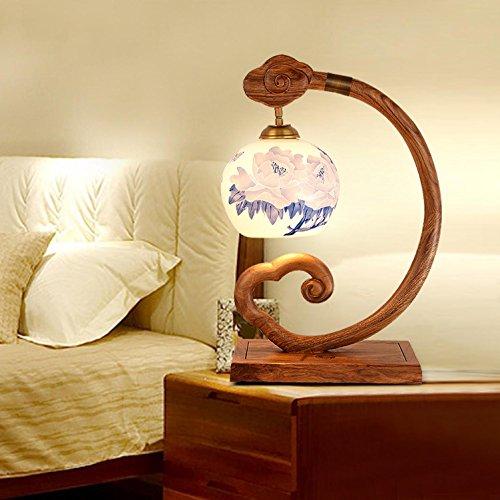 AMZH Die neue chinesische Stil Retro-Mahagoni Schreibtisch Lampe Nachttisch Lampe Schlafzimmer Wohnzimmer wurde warm Holz klassischen antiken Keramik Lampe - Stil Mahagoni Schreibtisch