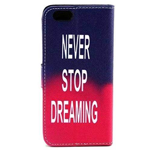 Gift_Source iPhone 6 hülle, iPhone 6S hülle, Brieftasche Ledertasche Bookstyle Schutzhülle Leder Flip case Etui for Apple iPhone 6S/6 4.7 inch [ Regenbogen ] E01-01-New Never Stop Dreaming