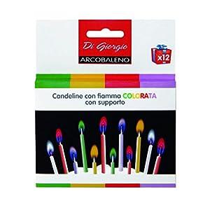 Cereria de Giorgio 5814velas de cumpleaños con llamas de colores y con soporte