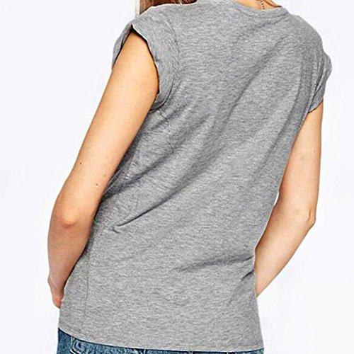 Bluestercool Femmes Flora Pullover T-Shirt à manches courtes Blouse Casual Gris