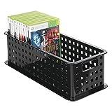 mDesign CD Aufbewahrungsbox – Aufbewahrungsbox Kunststoff Schwarz - Aufbewahrungssystem für CD' s, DVD' s, Blu-Ray' s, PS4 und Xbox One Spiele