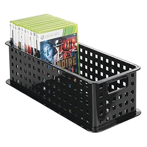 mDesign la boîte de rangement pour cd – le panier de rangement idéal pour vos CDs, DVDs, Blurays, consoles, etc. – pratique bac de rangement pour – couleur : noir