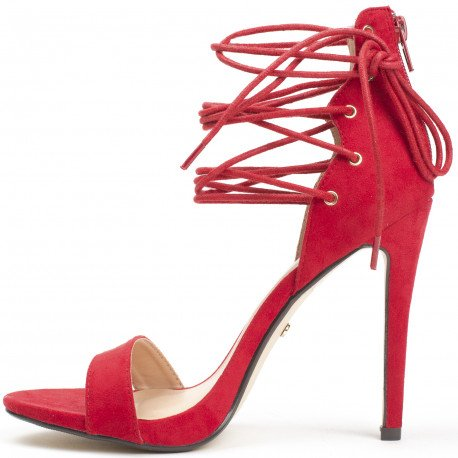 Ideal Shoes - Sandales à talon avec lacets Gaelina Rouge