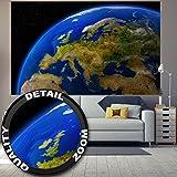 Fototapete Europa am Tag Wandbild Dekoration Kontinente Planet Erde Galaxy World Map Daylight Earth Universum Cosmos Europakarte | Foto-Tapete Wandtapete Fotoposter Wanddeko by GREAT ART (210 x 140cm)