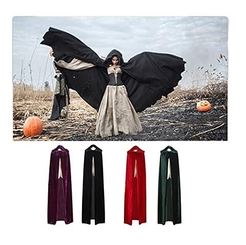 Lalang Adulte Unisexe Halloween Cape à Capuche Cloak Fantôme Cosplay Déguisement Costume Cape de Mort Cape de Sorcière (M, Noir)