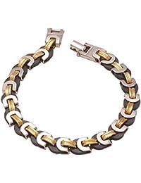 DzineTrendz White And Yellow Gold Plated Ceramic Interlinked Stylish Bracelet For Men
