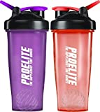 Perry Ellis Proelite Shaker Mixer Bottiglia (Confezione da 2), Unisex, Protein Shaker Mixer, Purple/Red, 2 x 700 ml