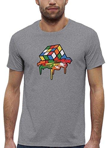 Zauberwürfel Premium Herren T-Shirt aus Bio Baumwolle Magic Cube Melting Stanley Stella Heather Grey