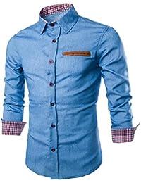 Culater Hombre Camisas de vestido formal Moda Manga Larga apta delgada con estilo Azul