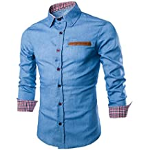 Culater® Hombre Camisas de vestido formal Moda Manga Larga apta delgada con estilo Azul