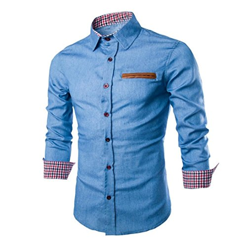 Culater Hombre Camisas de vestido formal Moda Manga Larga apta delgada con...