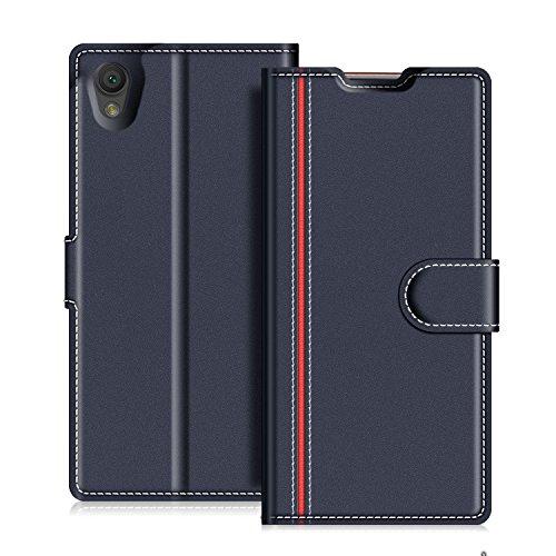 COODIO Sony Xperia L1 Hülle Leder Lederhülle Ledertasche Wallet Handyhülle Tasche Schutzhülle mit Magnetverschluss/Kartenfächer für Sony Xperia L1, Dunkel Blau/Rot