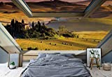 Toskana 3D-Dachfenster-Ansicht Vlies Fototapete Fotomural - Wandbild - Tapete - 416cm x 290cm / 4 Teilig - Gedrückt auf 130gsm Vlies - 10411VEXXXXL - Wiesen & Landschaft