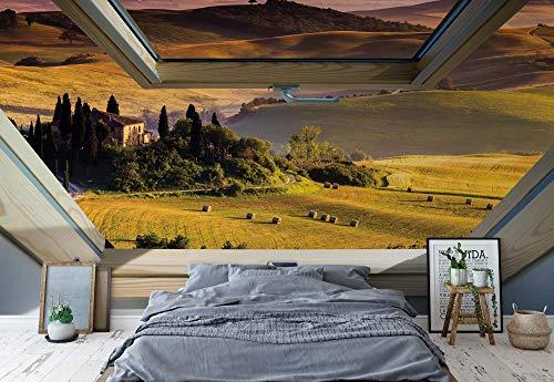 fototapete dachfenster Toskana 3D-Dachfenster-Ansicht Vlies Fototapete Fotomural - Wandbild - Tapete - 520cm x 318cm / 5 Teilig - Gedrückt auf 130gsm Vlies - 10411VEXXXXXL - Wiesen & Landschaft