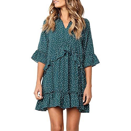 Elonglin Damen Kleider V-Ausschnitt Sommerkleid 1/2 Ärmel Chiffon Partykleid Strand Rüschen Mini...