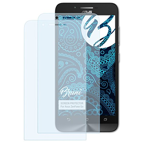 Bruni Schutzfolie für Asus ZenFone Go Folie, glasklare Bildschirmschutzfolie (2X)