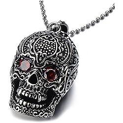 COOLSTEELANDBEYOND Grande cráneo de azúcar, acero inoxidable, con circonita roja, cadena 60 cm
