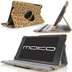 MoKo Samsung Galaxy Note 10.1 2014 Edition Case - 360 Degree Rotating Case for Note 10.1 Inch 2014 Edition Tablet, Leopard BROWN (With Smart Cover Auto Wake / Sleep)