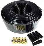 Smartsat 30m Koaxialkabel schwarz X130B 7,4mm inkl. 10x F-Stecker vergoldet mit Dichtring und 5x Wetterschutz für Satellitenempfang, bester Empfang für HDTV, 3D, FullHD, Ultra HD, HD 4K2K, UHDTV by Prolan easykoax®