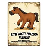 trendaffe - Metallschild mit Pferde Motiv und Spruch: Bitte Nicht füttern - Hufrehe