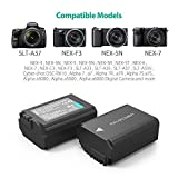 A6000 Battery NP-FW50 RAVPower Camera Battery Charger Set for Sony Alpha a5100, a6500, a6400, a6300, a7, a7 rii and More (2-Pack Replacement Batteries, 1100mAh)