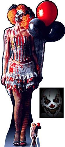 (Gruseliger Weiblicher Clown Halloween Lebensgrosse und klein Pappaufsteller - mit 25cm x 20cm foto)
